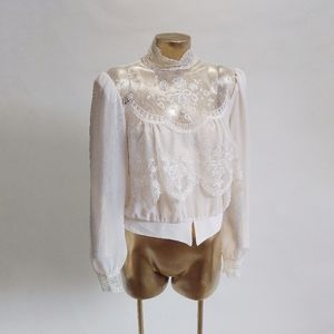 High Neck Sheer Lace Blouse